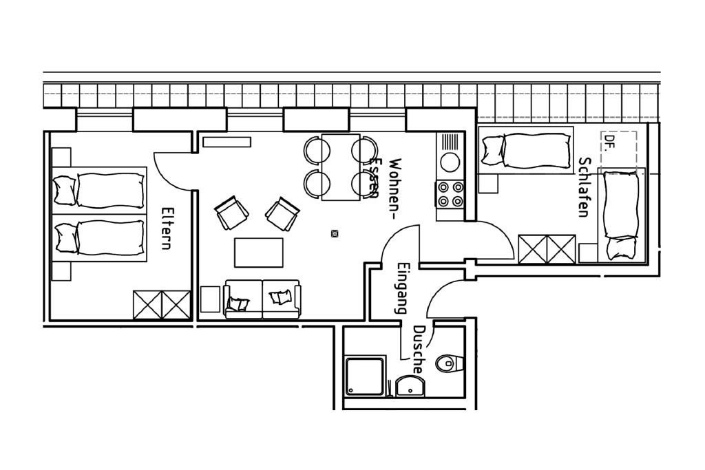 Grundriss der Ferienwohnung 1 auf dem Gutshof Schulze Althoff