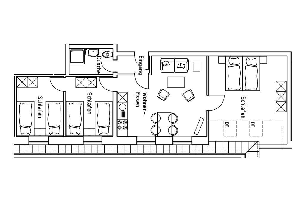 Grundriss der Ferienwohnung 2 auf dem Gutshof Schulze Althoff