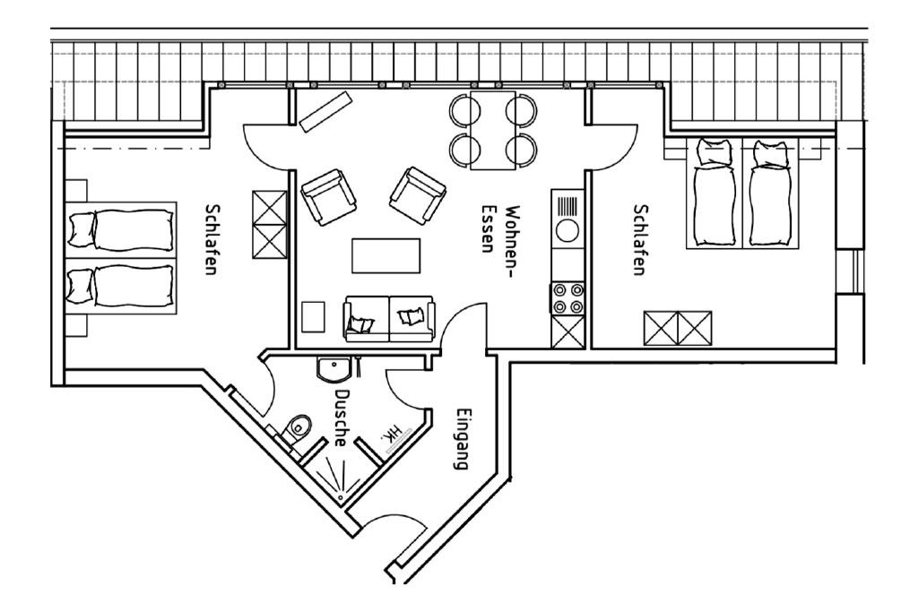 Grundriss der Ferienwohnung 3 auf dem Gutshof Schulze Althoff