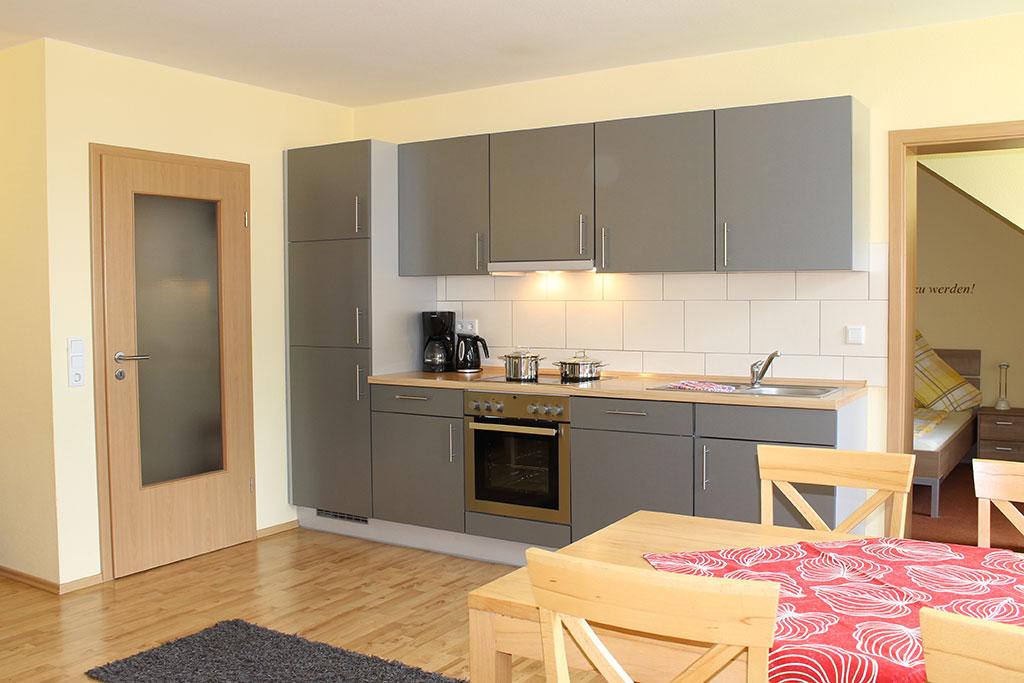 Komfortable, ausgestattete Küche Ferienwohnung Nr. 4 auf dem Gutshof Schulze Althoff