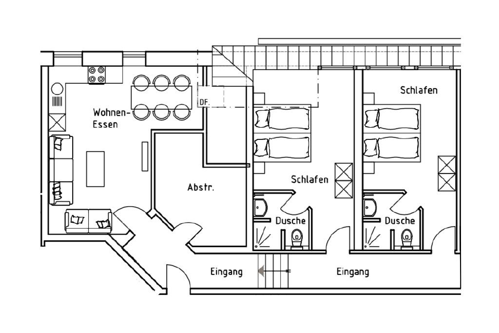 Grundriss der Ferienwohnung 5 auf dem Gutshof Schulze Althoff