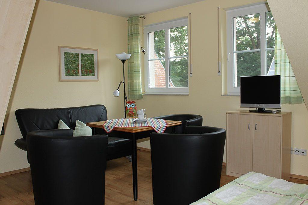 Gemütliche Sitzecke Ferienwohnung Nr. 7 auf dem Gutshof Schulze Althoff