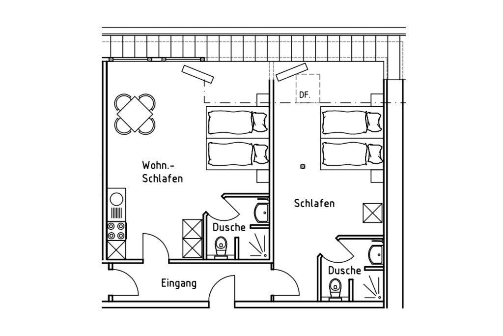 Grundriss der Ferienwohnung 7 auf dem Gutshof Schulze Althoff