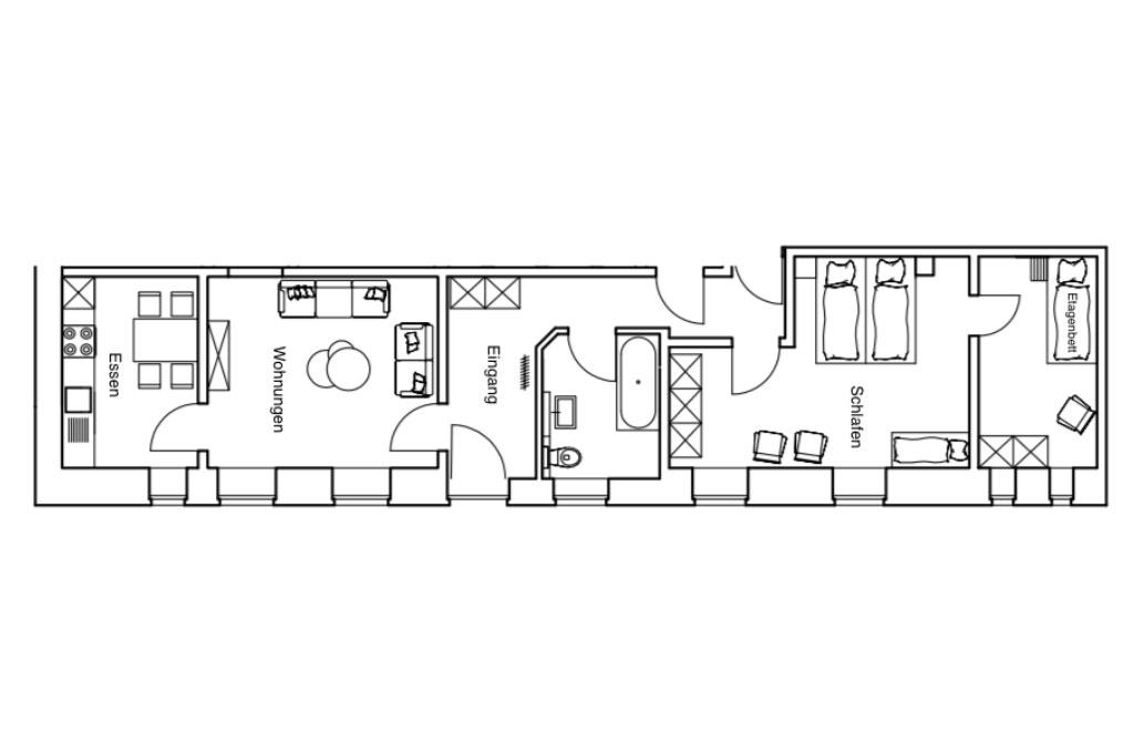 Grundriss der Ferienwohnung 10 auf dem Gutshof Schulze Althoff
