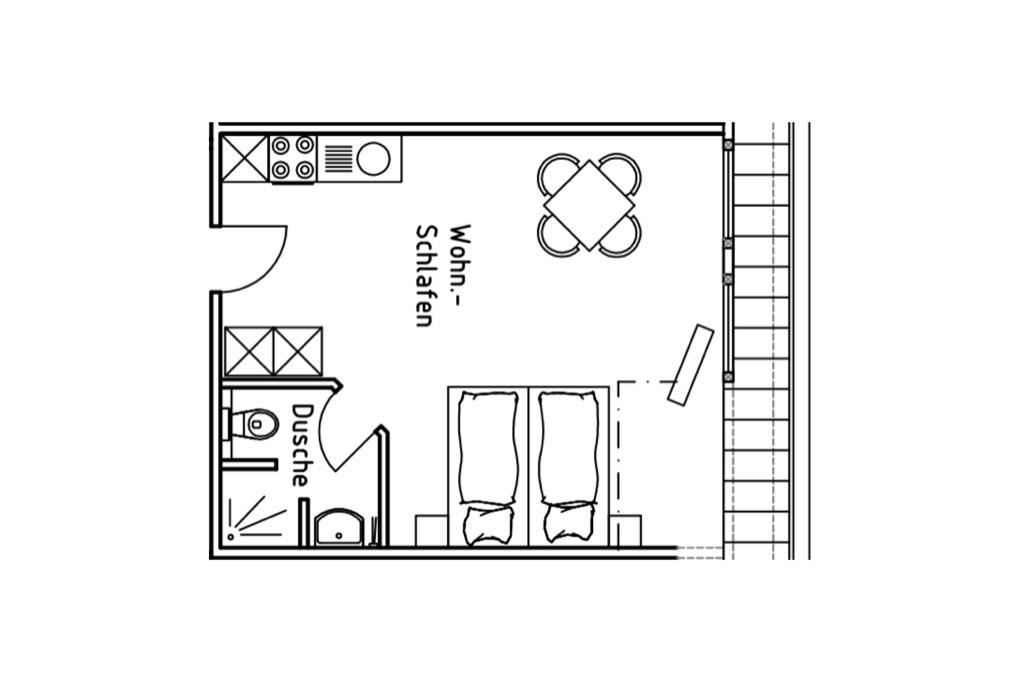 Grundriss Appartement auf dem Gutshof Schulze Althoff