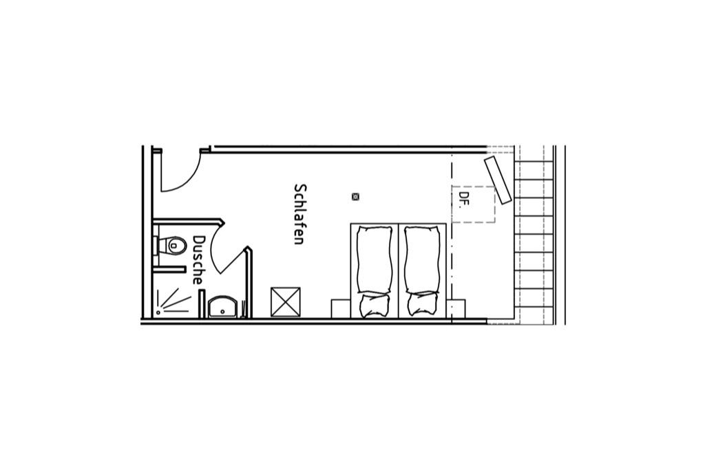 Grundriss Doppelzimmer auf dem Gutshof Schulze Althoff