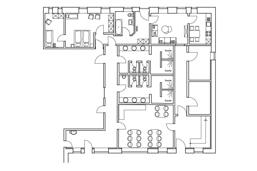 Grundriss Erdgeschoss auf dem Gutshof Schulze Althoff